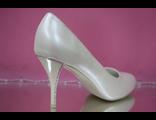 Свадебные туфли айвори средний каблук украшен стразами серебро № 080333-02=02