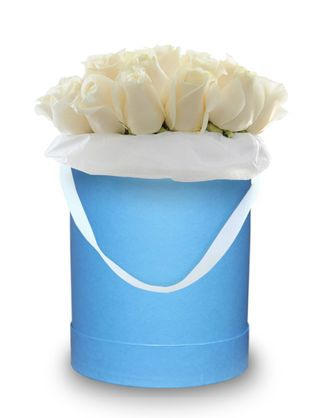 Blue box white roses