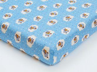 Простынь на резинке для новорожденных shapito by giovanni ОВЕЧКИ голубая
