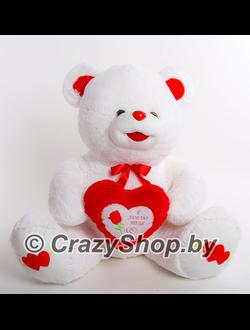 Плюшевый медведь с красным сердцем Ника 165 см.