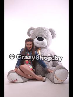 Большой плюшевый медведь Фрэнк серый 210 см.