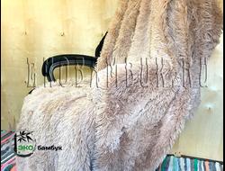 Бамбуковый плед экстра-класса Бежево-коричневый 160х210