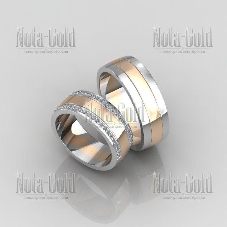 8d50418416e4 Двухцветные широкие обручальные кольца с двумя дорожками бриллиантов в женском  кольце