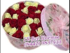 Шикарные розы в шляпной коробке