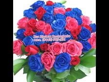 Радужный букет с синими розами (45 роз)