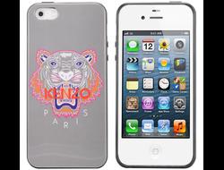 Чехол Kenzo Tiger Pattern Gray для iPhone 4/4s