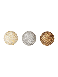 Шары декоративные DECORATIVE BALL X3 PIGNA GOLD+SILVER+BEIGE D10CMарт.31837