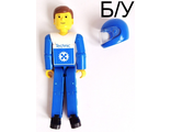 ! Б/У - Technic Figure Blue Legs, White Top with Blue Technic Logo, Blue Arms, n/a (tech005) - Б/У
