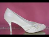 Свадебные туфли перламутровые айвори светло беж средний шпилька каблук нос украшен сборкой и стразы