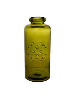 Ваза бутыль VASE    GREEN D15XH35CM RECYCLED GLASS 30483