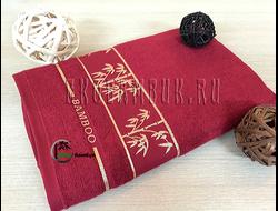 Бамбуковое полотенце Спорт класса бордо золотой бамбук 68х136