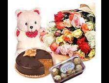 Набор 25 роз+мягкая игрушка+шоколадные конфеты и торт