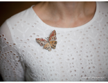 """Брошь-бабочка """"Мартина"""" из яшмы"""