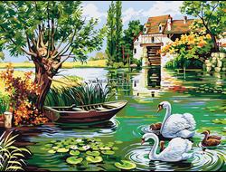 Картина (раскраска) по номерам на холсте - Лебединое семейство EX 5289