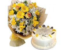 Букет цветов и торт набор Тепло души