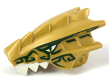 Dragon Head Ninjago Upper Jaw with White Teeth, Gold Eyes, and Dark Green Decorations Pattern, Pearl Gold (40933pb01 / 6250547)