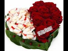 Сладкое Сердце композиция из 11 красных роз и конфет Раффаэлло