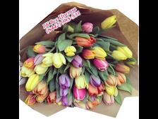 45 Тюльпанов букет Трехцветный