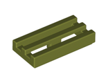 Tile, Modified 1 x 2 Grille with Bottom Groove / Lip, Olive Green (2412b / 6071200)