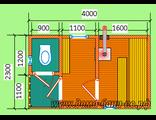 Готовая баня тип 4СВ, размер 2,3 х 4 м.
