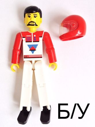 ! Б/У - Technic Figure White Legs, White Top with Red Vest, Red Arms, Black Hair, Red Helmet (set 8714), n/a (tech020) - Б/У