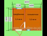 Схема готового сруба брусовой бани - конструктора размером 3 х 2.3 м.