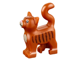 Cat, Standing with Dark Tan Chest and Muzzle, Dark Brown Stripes and Bright Pink Nose Pattern, Dark Orange (13786pb02 / 6057751 / 6182674)