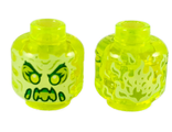 Minifigure, Head Alien Ghost with Yellowish Green Face, Slime Mouth, Raised Eyebrows and Flames in Back Pattern - Hollow Stud, Trans-Neon Green (3626cpb2451 / 6273380)