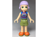 Friends Mia, Olive Green Shorts, Dark Purple Top with Diamonds and Triangles, Lavender Ski Helmet with Red Hair, n/a (frnd291)