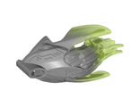 Bionicle Creature Head/Mask with Marbled Trans-Bright Green Pattern, Flat Silver (24162pb06 / 6135057)