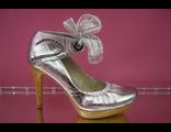 Распродажа свадебные туфли серебро на платформе украшены ленточкой купить дешево магазин салон фото