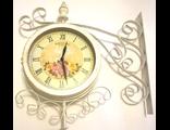 Часы уличные двухсторонние на кронштейне, металлические