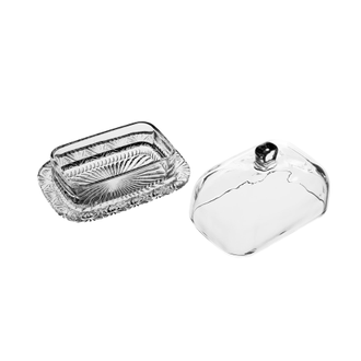 Масленка BUTTER DISH NYMPHEA 17X12X11CM GLASS