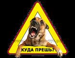 """Наклейка - знак на авто """"Куда прешь?"""" Злая собака в машине, злой пес в салоне, охраняется овчаркой."""