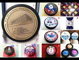 Шайбы хоккейные ЧМ-2016 (с талисманом «Лайкой» и/или логотипом) 8 вариантов