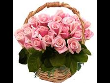 Корзина роз-розовых 25 роз Неженка