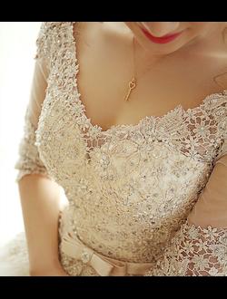 fb84bfbd8d4 Пышное свадебное платье цвета айвори с рукавами