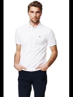 Поло GANT, однотонная с логотипом, цвет белый