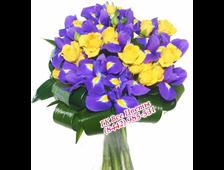 Ирисы с желтыми розами букет Так Ярко