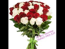 Бело-красный букет роз