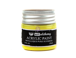 ART ALCHEMY-ACRYLIC PAINT-METALLIQUE YELLOW 1.7 FL.OZ (50ML)