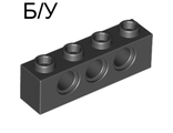! Б/У - Technic, Brick 1 x 4 with Holes, Black (3701 / 370126) - Б/У