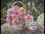 """Круглова Светлана. """"Розы в корзине"""", холст / масло, 40 х 50 см., 2015 г."""