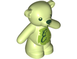 Teddy Bear with Dark Green Eyes, Nose and Mouth, Script Letter E on Lime Stomach, Damaged Eye Pattern, Yellowish Green (98382pb008 / 6279100)
