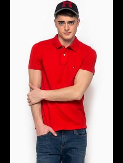 Поло TOMMY HILFIGER однотонная с логотипом, цвет красный