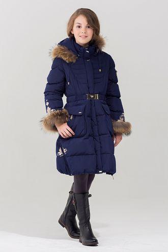 Bilemi пальто для девочки биопух 716620 (синий фронт)
