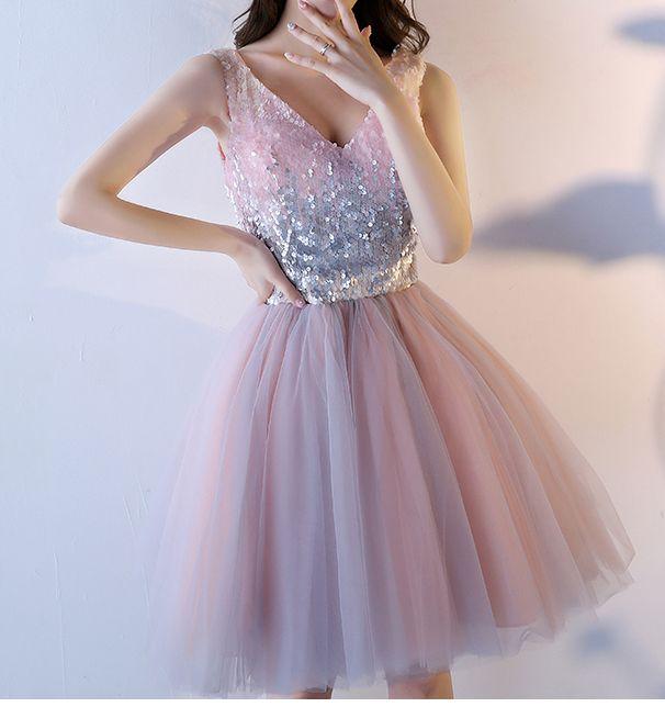 744ddb967043aec Розовое коктейльное платье с пайетками и пышной юбкой - прокат ...