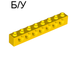 ! Б/У - Technic, Brick 1 x 8 with Holes, Yellow (3702 / 370224) - Б/У