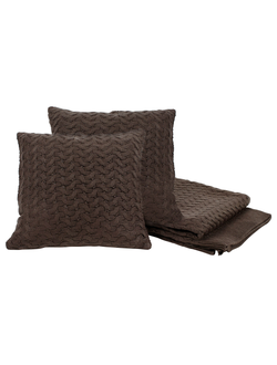 Плед и 2 подушки PLAID+2 CUSHIONS SAND BROWN 125X150+40X40 ACRYLарт.31881