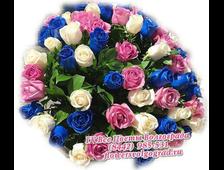 51 микс из синих срозовыми и белыми розами